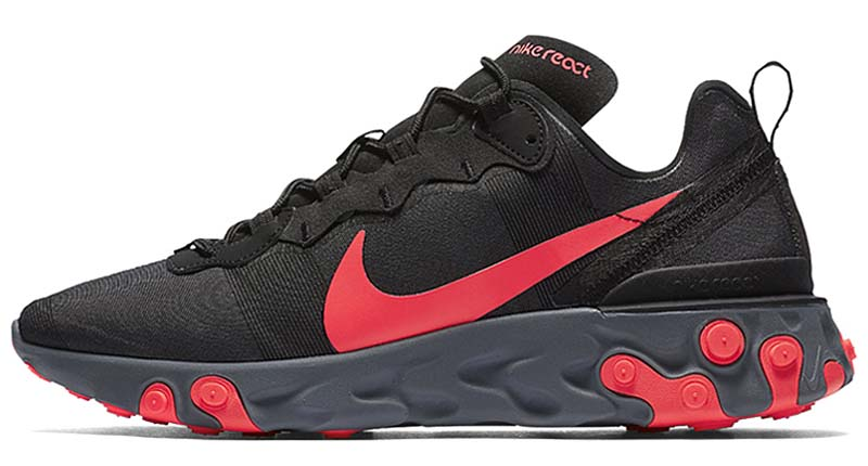 NIKE REACT ELEMENT 55 [BLACK / SOAR RED-COOL GREY] BQ6166-002