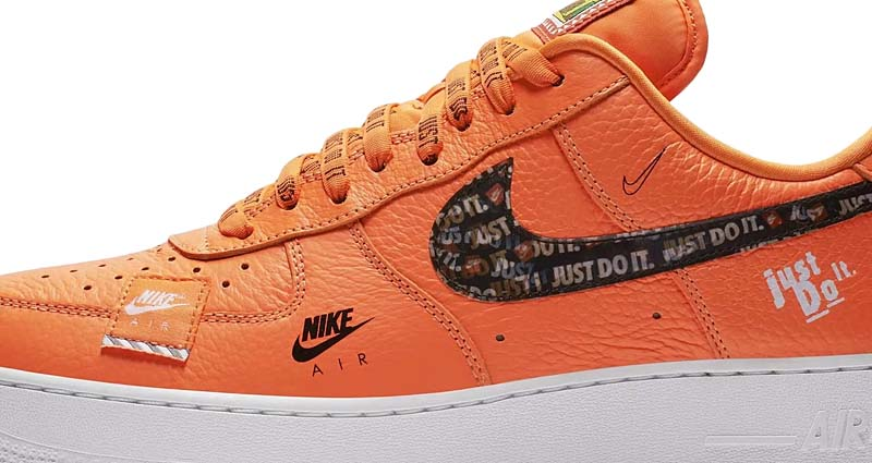 NIKE AIR FORCE 1 07 PRM JDI Just Do It [TOTAL ORANGE / TOTAL ORANGE-BLACK-WHITE] ar7719-800