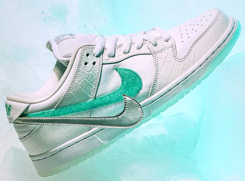 NIKE DUNK LOW PRO SB DIAMOND SUPPLY CO TIFFANY WHITE [WHITE / CHROME / WHITE / TROPICAL TWIST] bv1310-100