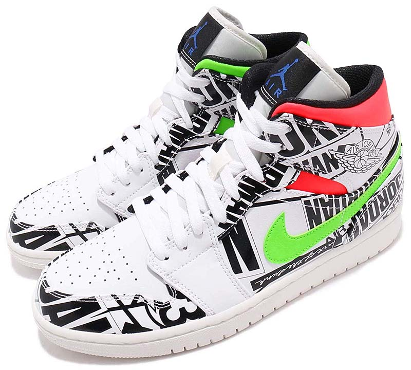 "NIKE AIR JORDAN 1 MID ""ALL OVER LOGOS"" WHITE / RACER BLUE / BLACK / CYBER 554724-119 ナイキ エアジョーダン1 ミッド オール・オーバー・ロゴ"
