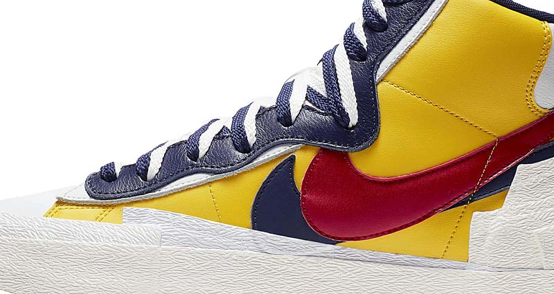 NIKE x sacai BLAZER MID VARSITY MAIZE / MIDNIGHT NAVY / WHITE / VARSITY RED BV0072-700 ナイキ × サカイ ブレザー ミッド 「イエロー/ネイビー/レッド」