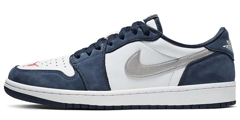 NIKE SB AIR JORDAN 1 LOW MIDNIGHT NAVY / WHITE-EMBER GLOW-METALLIC SILVER CJ7891-400 ナイキ SB エアジョーダン1 ロー 「ホワイト/ネイビー/シルバー」