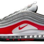 NIKE AIR MAX 97 [PURE PLATINUM / UNIVERSITY RED-BLACK-WHITE] (921826-009)