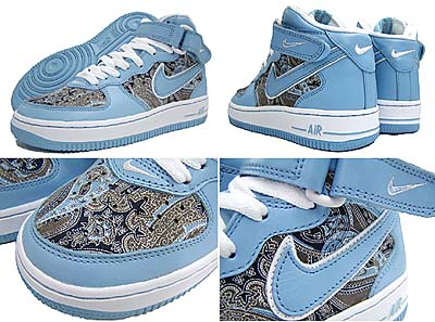 nike wmns air force 1 mid limited (skyline/grey) ナイキ エアフォース1 ミッド 限定 (ペイズリー)