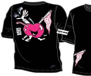 虫が出て足がはえた狂ったリンゴ「ランニング ガニン」のTシャツもリリースされる