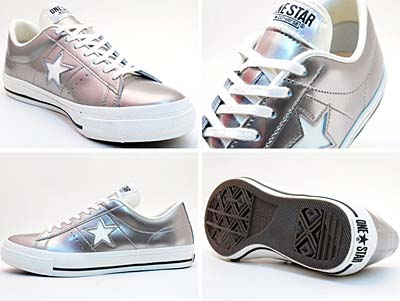 CONVERSE ONE STAR ENAMEL-LEATHER OX [SILVER]