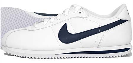 NIKE CORTEZ BASIC LEATHER 06 [WHITE/MID NIGHT NAVY] 316418-143