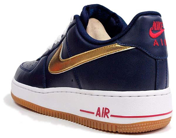 NIKE AIR FORCE 1 07 [MIDNIGHT NAVY/METALLIC GOLD-SPORT RED] 488298-406