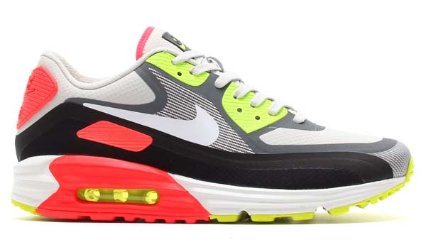 NIKE AIR MAX LUNAR 90 WR [LIGHT ASH GREY / WHITE-BLACK / LASER CRIMSON] 654471-004