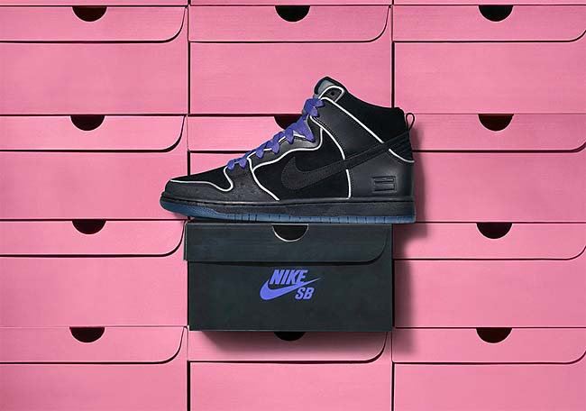NIKE SB DUNK HIGH ELITE BLACK BOX [BLACK / BLACK-WHITE-PURPLE HAZE] 833456-002