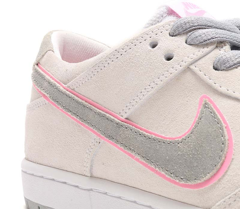 NIKE SB ZOOM DUNK LOW PRO IW [WHITE / PERFECT PINK-FLT SILVER] 895969-160