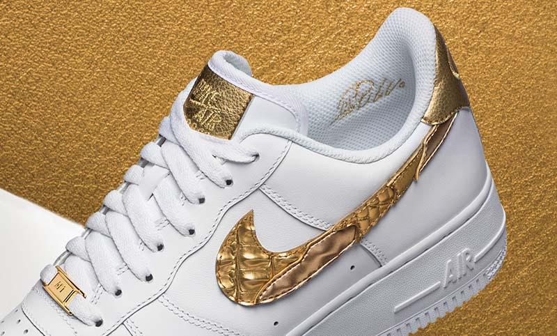 """NIKE AIR FORCE 1 LOW CR7 """"GOLDEN PATCHWORK"""" [WHITE / WHITE-METALLIC GOLD] AQ0666-100"""