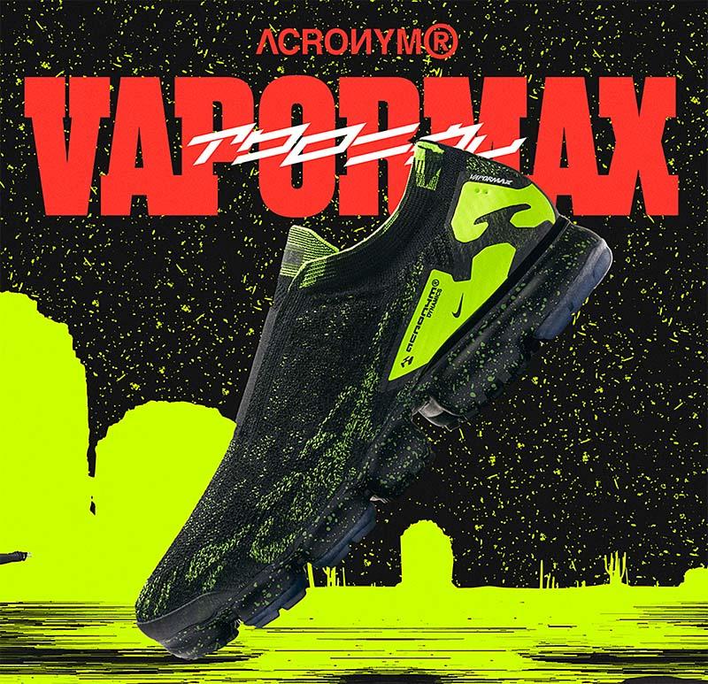 NIKE x ACRONYM AIR VAPORMAX MOC 2 [BLACK / VOLT-BLACK] AQ0996-007