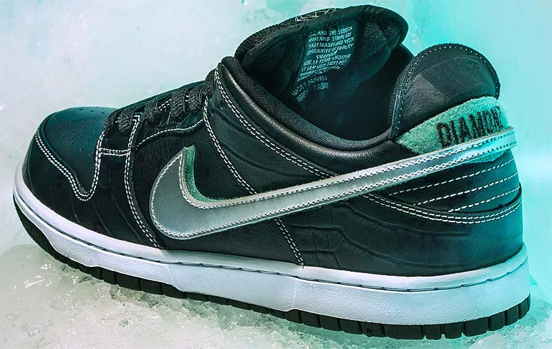 NIKE DUNK LOW PRO SB DIAMOND SUPPLY CO TIFFANY BLACK [BLACK / TROPICAL-TWIST / CHROME] BV1310-001