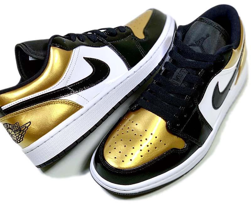 "NIKE AIR JORDAN1 LOW ""GOLD TOE"" METALLIC GOLD / BLACK / WHITE CQ9447-700 ナイキ エアジョーダン1 ロー ゴールド・トゥ メタリックゴールド/ブラック/ホワイト"