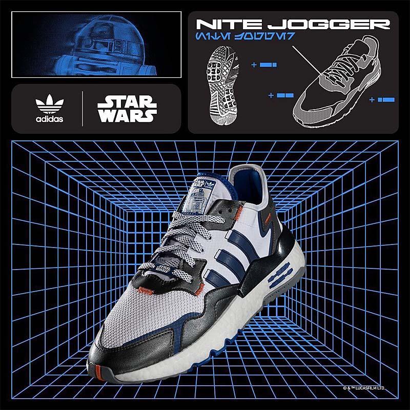 "adidas Originals NITE JOGGER STAR WARS ""R2-D2"" CLOUD WHITE / CLOUD WHITE / CORE BLACK FV8040 アディダス オリジナルス ナイトジョガー スターウォーズ R2-D2 ホワイト/ブルー/シルバー"