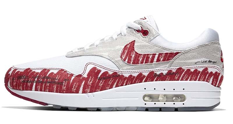 "NIKE AIR MAX 1 ""SKETCH TO SHELF"" RED / WHITE / WHITE CJ4286-101 ナイキ エアマックス1 スケッチ・オブ・シェルフ 「ホワイト/レッド」"