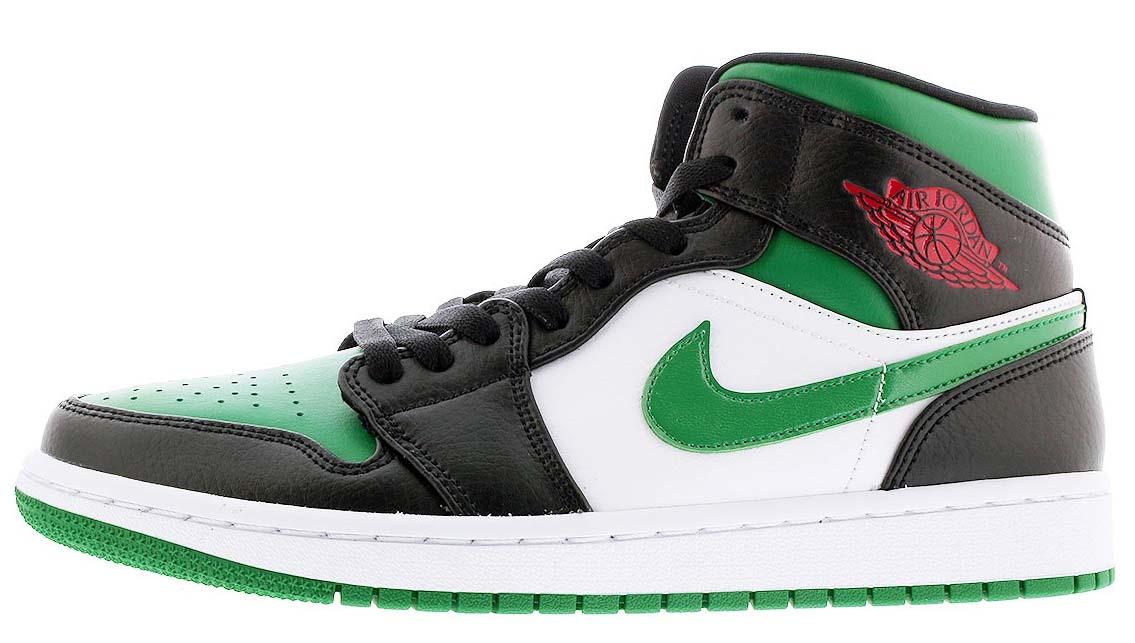 NIKE AIR JORDAN 1 MID BLACK / PINE GREEN / WHITE / GYM RED 554724-067 ナイキ エア ジョーダン 1 ミッド ブラック/グリーン/レッド