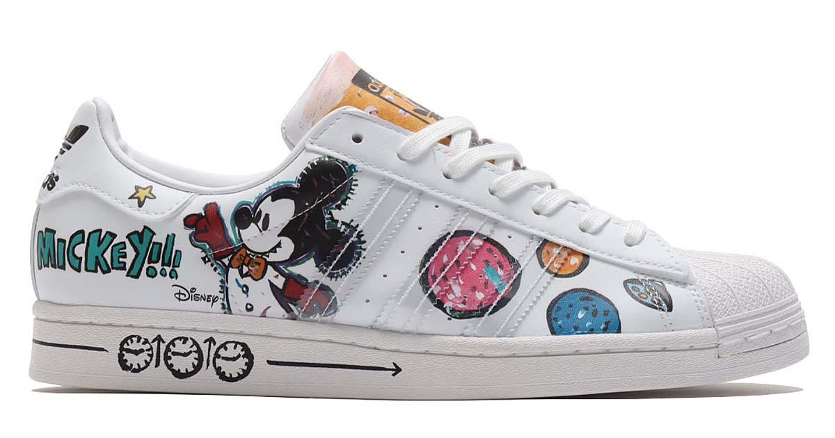 adidas SUPERSTAR Kasing Lung x Mickey Mouse x adidas Mickey Twist FOOTWEAR WHITE / FOOTWEAR WHITE / CORE BLACK GZ8839 アディダス スーパースター ホワイト/マルチカラー