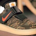 NIKE AIR FORCE 1 UT LOW PRM CARHARTT WIP [CAMO GREEN / TOTAL ORANGE – GUM LIGHT BROWN] (AV4112-300)