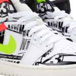 "NIKE AIR JORDAN 1 MID ""ALL OVER LOGOS"" [WHITE / RACER BLUE / BLACK / CYBER] (554724-119)"
